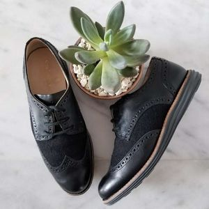 COLE HAAN Wingtips Oxfords Black Lace Up Sneakers